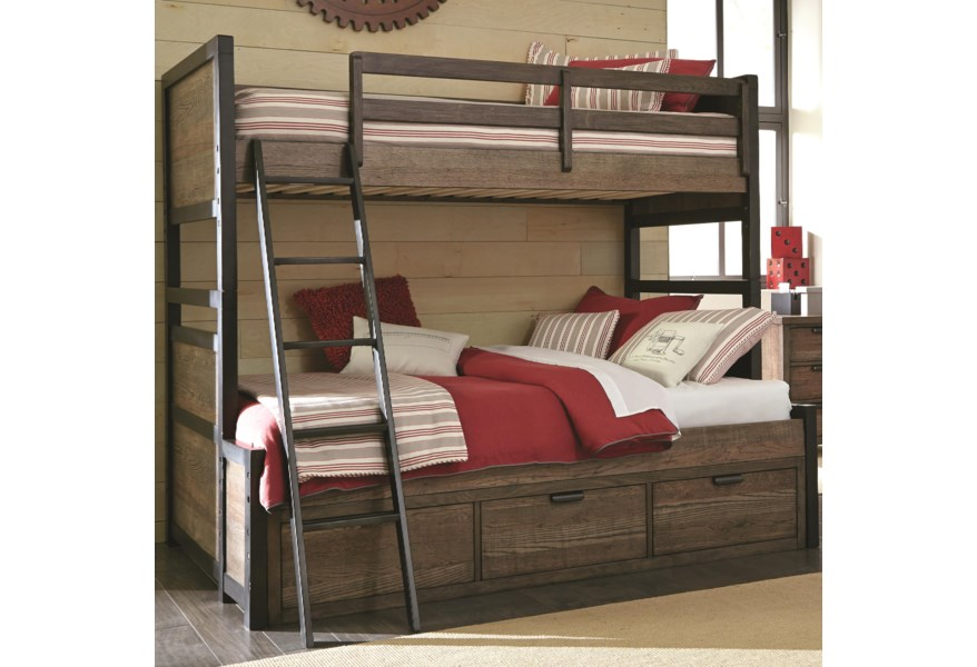 Legacy Classic Kids Fulton County Twin Over Full Bunk Bed with 3 .