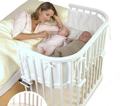 Maxi bedside cot, suitable for twins - available from Naturalmat .