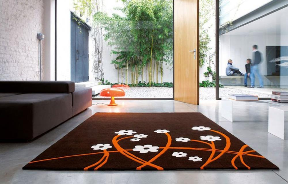Flower Carpet Design Browncolor In Living Room With Brown Sofa .