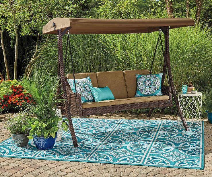 Wilson & Fisher Sonoma Resin Wicker 3-Person Canopy Swing | Resin .