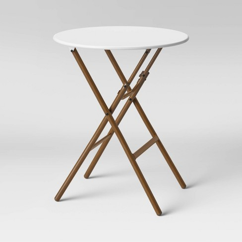 French Caf Folding Patio Bistro Table White/Brown - Threshold .