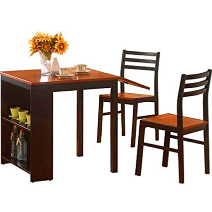 Amazon.com - BS Drop Leaf Dining Table with Chairs Shelves Storage .