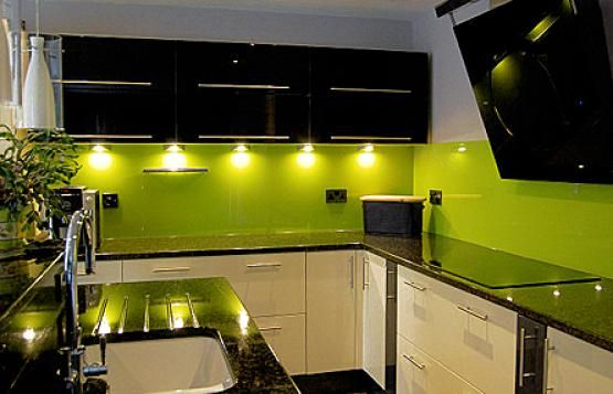 kitchens with green walls | cabinets tiles walls splash back in .