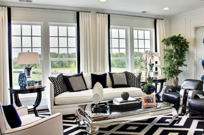 For an elegant living room we choose a black and white r