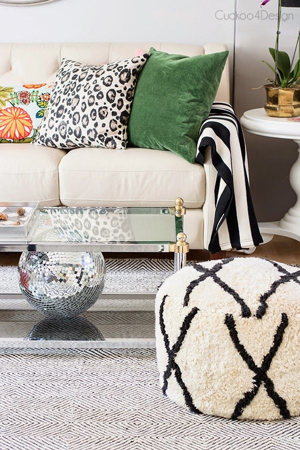 A new gorgeous rug for our living room!   Black, white living room .