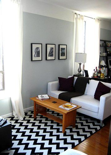 Black and White living room with a chevron rug   Black and white .