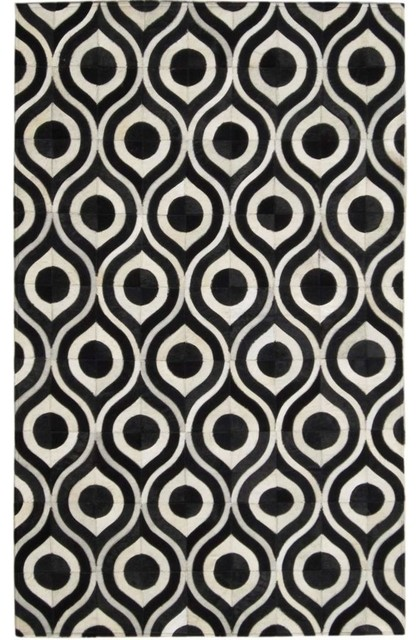 Madisons Black and White Rug, Geometric Cowhide Pattern .