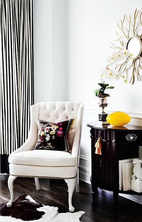 Black and White Striped Curtains - Transitional - living room .