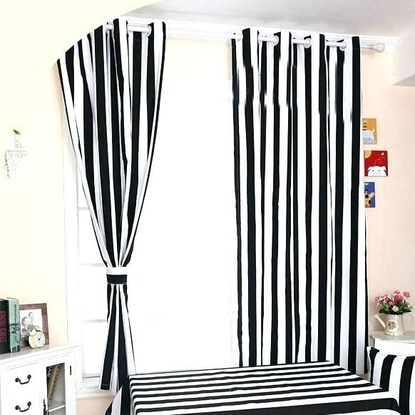 Shiny black and white vertical striped curtains Snapshots, new .