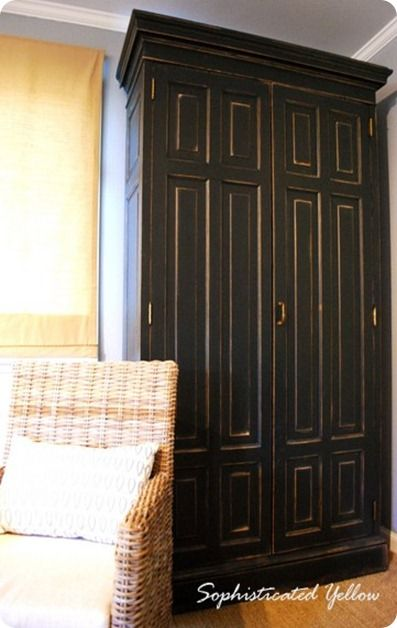 Distressed Black Armoire | Furniture makeover, Armoire makeover .