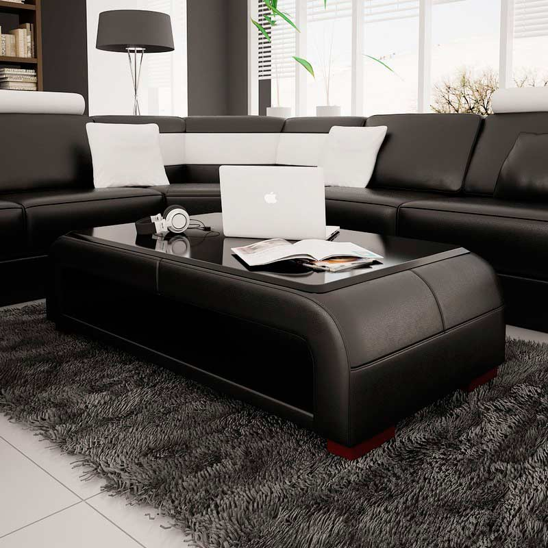 Modern Black Bonded Leather Coffee Table with Glass Top .