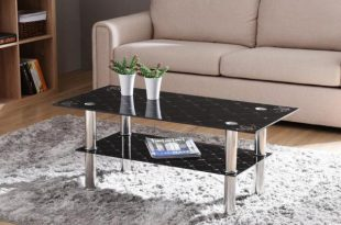 HODEDAH Black Rectangular Tempered Glass 2-Tier Coffee Table with .