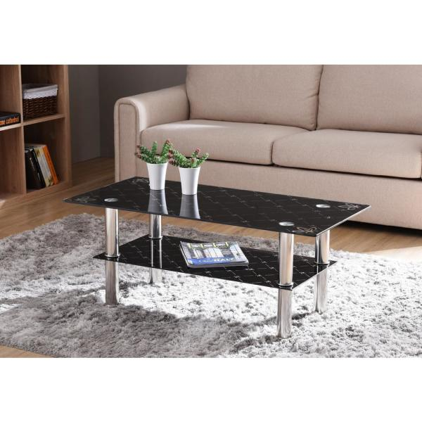 Black Glass Coffee Table For Living Room