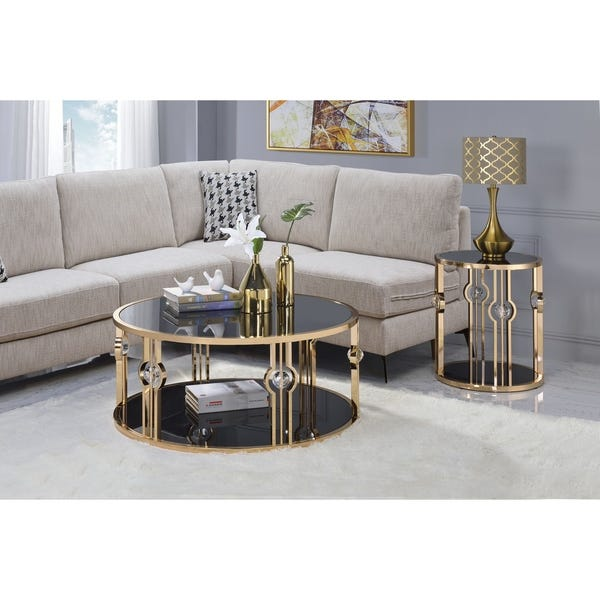 Shop ACME Daloris End Table, Gold and Black Glass - Overstock .