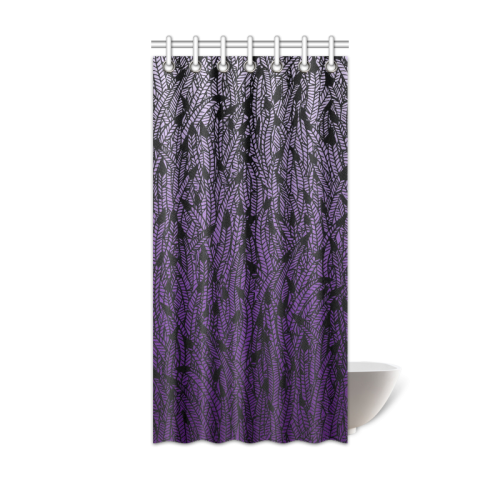 """purple ombre feathers pattern black Shower Curtain 36""""x72"""" 
