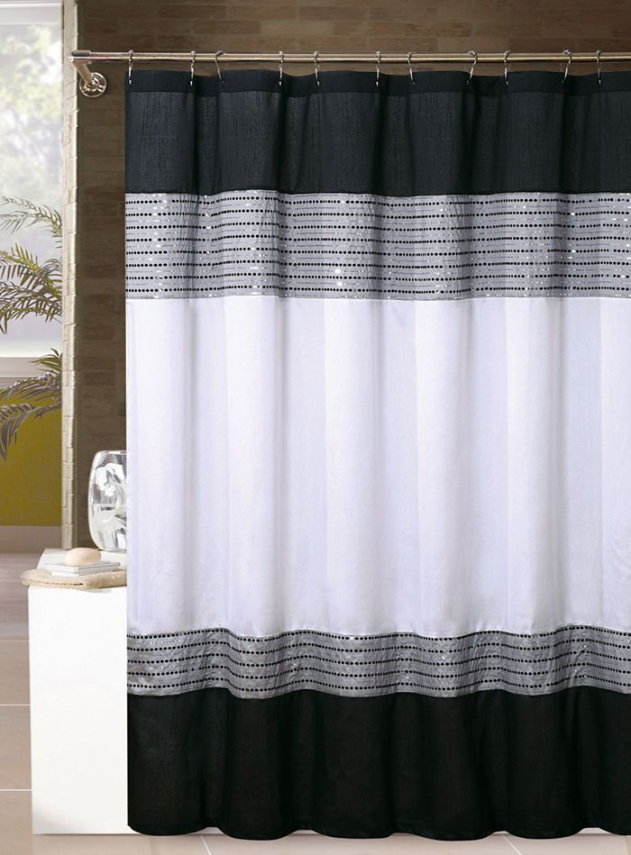 White, Black, and Silver/Gray Shower Curtain: Sequins, 72in x 72in .