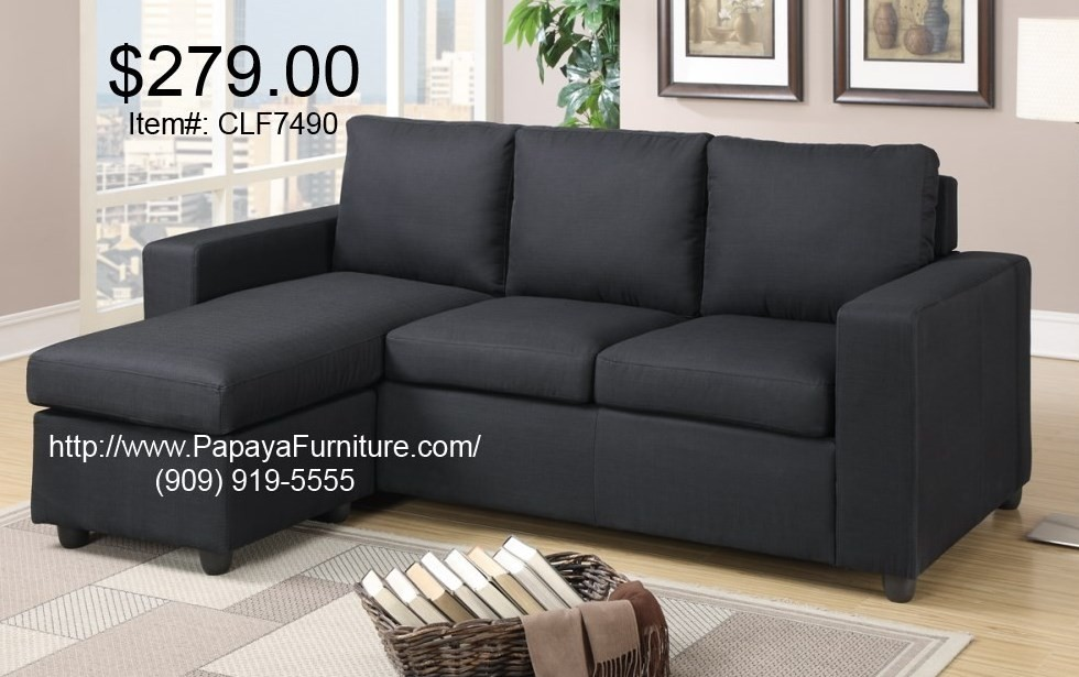 Small Black Fabric Sectional Sofa Couch Set Modern Furniture - CL .