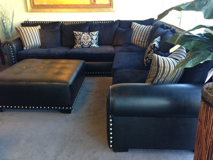 Navy Blue Leather Sectional Sofa | Home Furniture Design … | Blue .