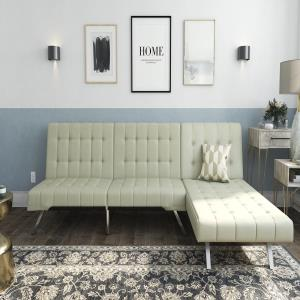 Blue Leather Sectional Sofa With Chai