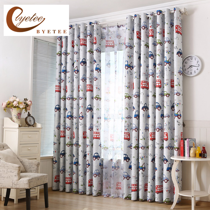 byetee] Cars Bedroom Blackout Kitchen Curtains For Children Living .