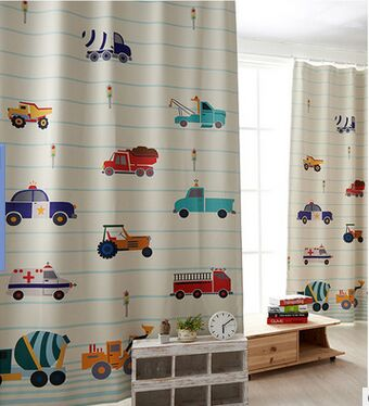 modern kids car printed cloth blackout bedroom curtain colorful .