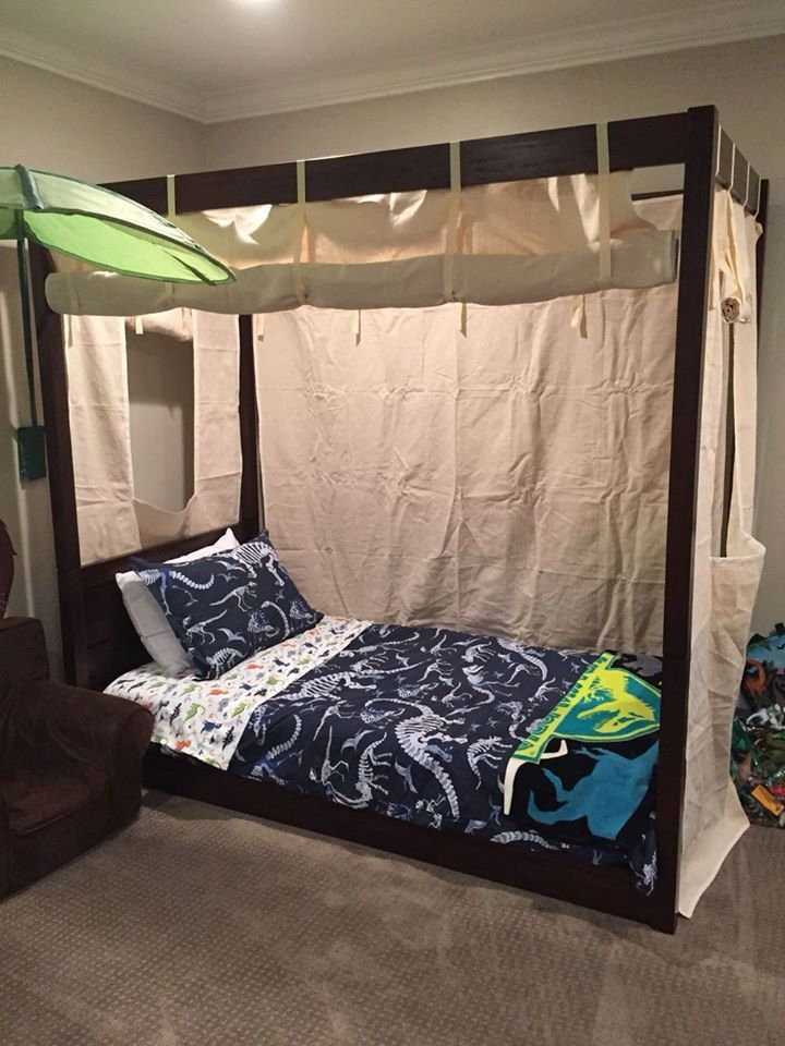 Twin Size Canvas Bed Enclosure Tent- Boys or Girls Canopy Bed .