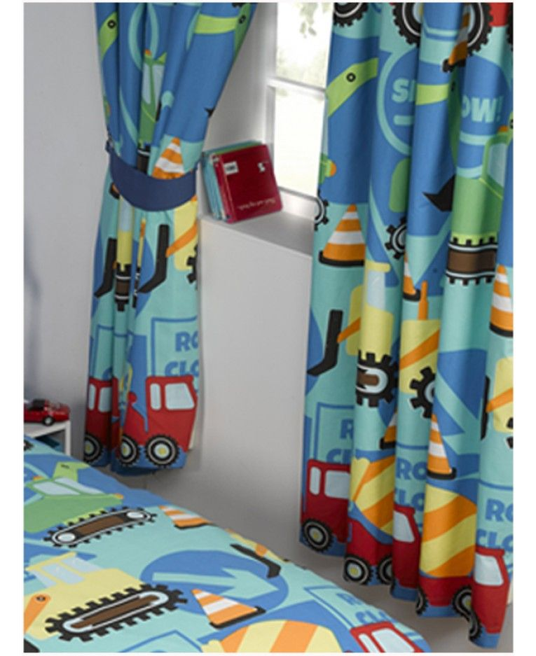 Construction Time Lined Curtains | Kids room curtains, Kids .