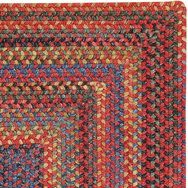 Shop Songbird Red Concentric Rectangle Braided Rugs - Overstock .