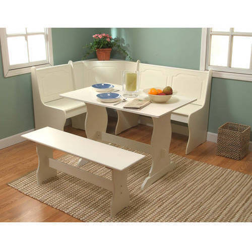 Breakfast Nook 3-Piece Corner Dining Set, Antique White - Walmart .
