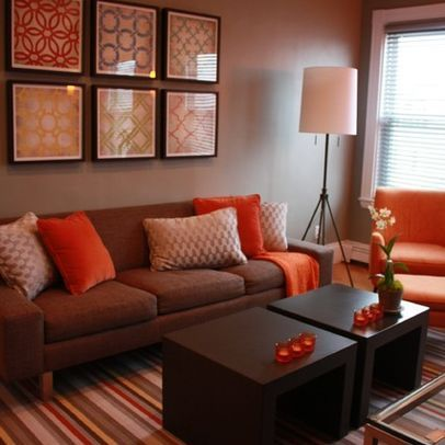 Living Room Brown And Orange Design, Pictures, Remodel, Decor and .