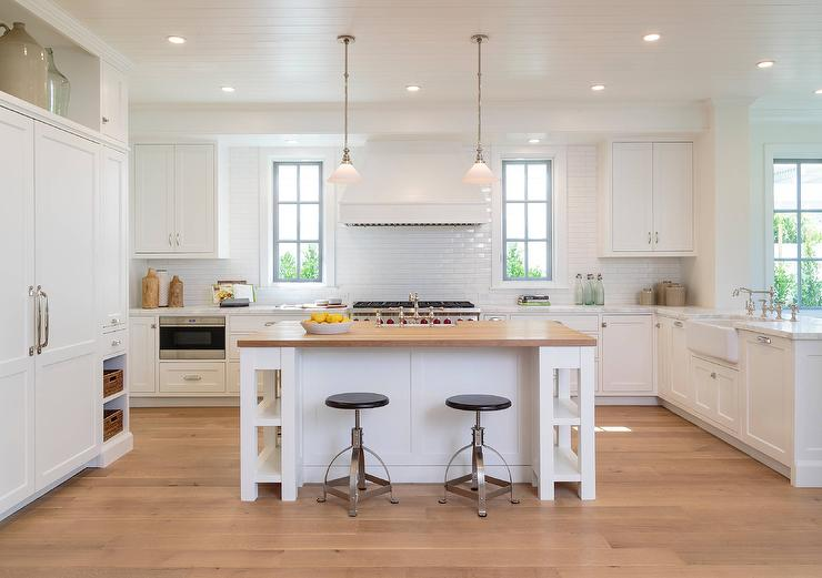 Amazing White Kitchen Island With Butcher Block Top Shelf And .