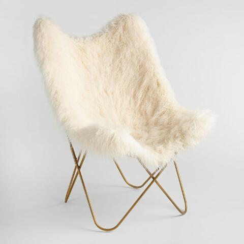Ivory Flokati Cushioned Everly Butterfly Chair | World Mark