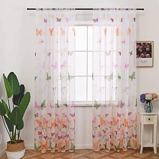 Amazon.com: Butterfly Sheer Kids Room Curtains 1 Panel Print Voile .