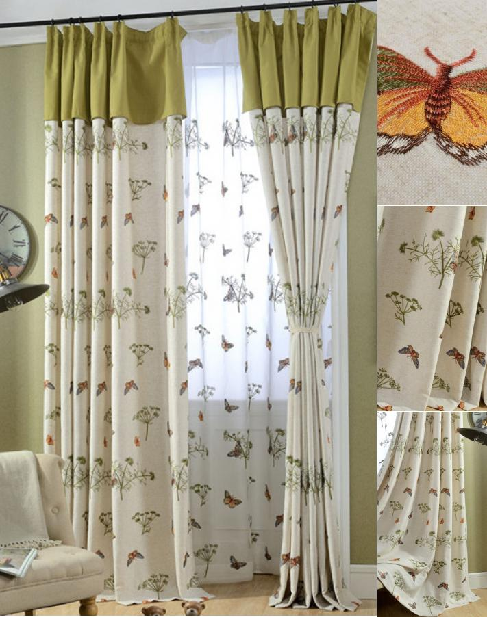 Beige and Lime Sage Green Butterfly Botanical Living Room Curtai