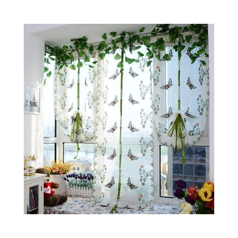 Indoor Butterfly Tulle Curtain For Windows Roman Shades Blinds .