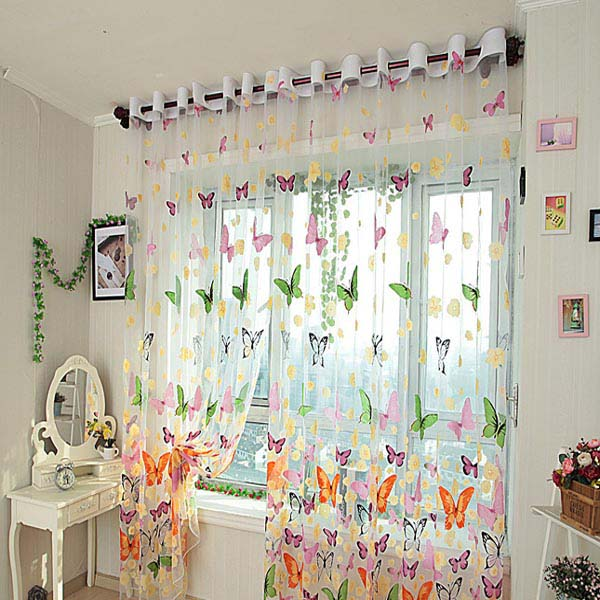 Butterfly Print Sheer Window Curtains Home Decoration | Alexnld.c