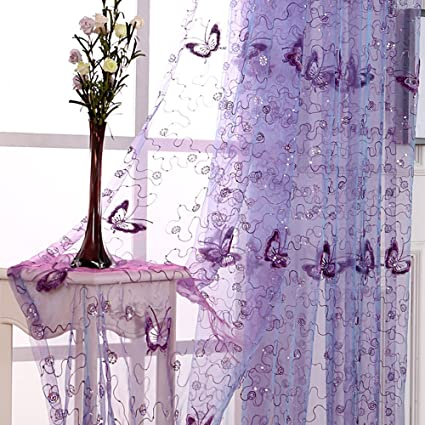 Amazon.com: pureaqu Embroidery and Floral Butterfly Sheer Curtains .