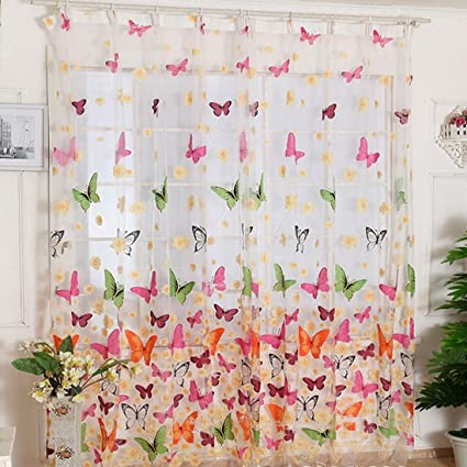 Amazon.com: Outtop Butterfly Print Sheer Window Panel Curtains .