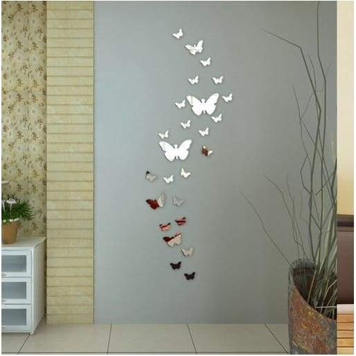 12pcs Decorative Mirror 3D Butterfly Wall Decor Poster Vintage .