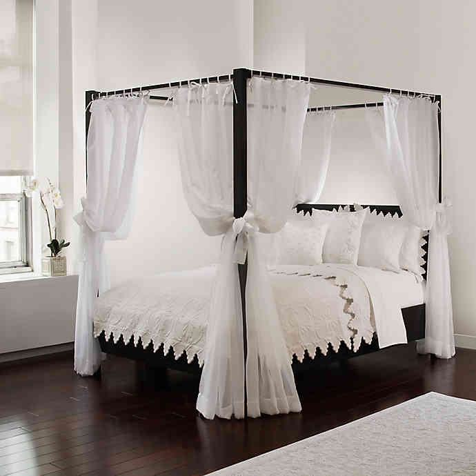 Tie Sheer Bed Canopy Curtain Set in White | Bed Bath & Beyo