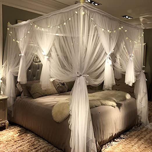 Amazon.com: Joyreap 4 Corners Post Canopy Bed Curtain for Girls .