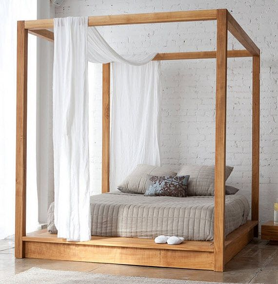Low Platform Bed with Canopy - King Size, natural color cherry for .