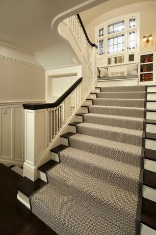 Traditional Staircase with Maeve Stair Runners, High ceiling .