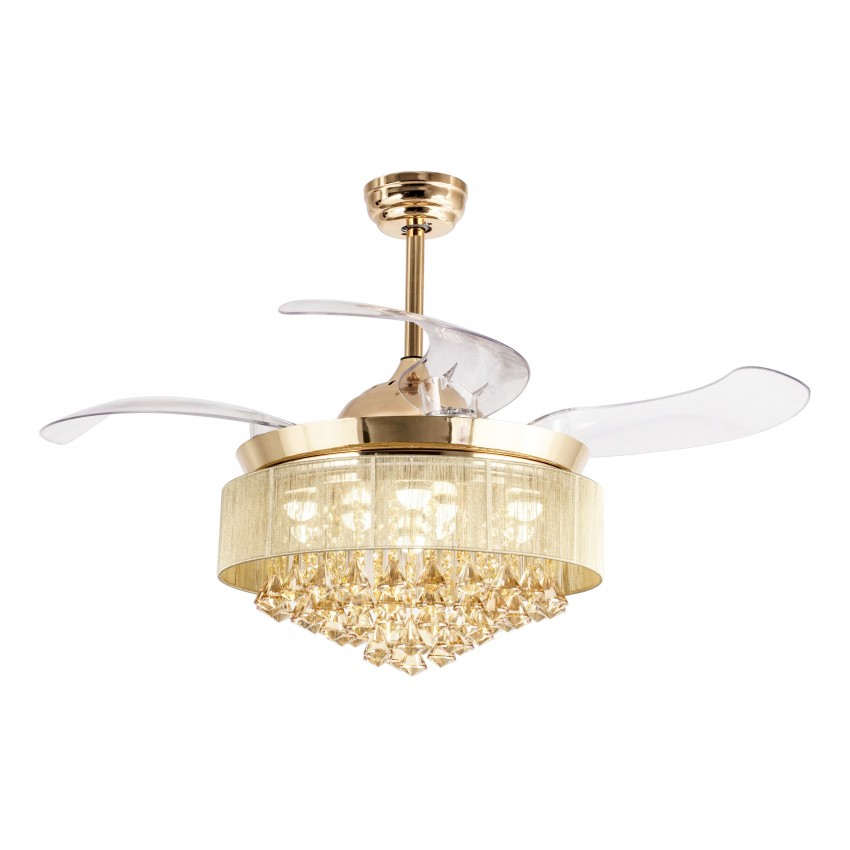 """46"""" Modern Crystal Foldable Ceiling Fan with LED Lights, Remote ."""