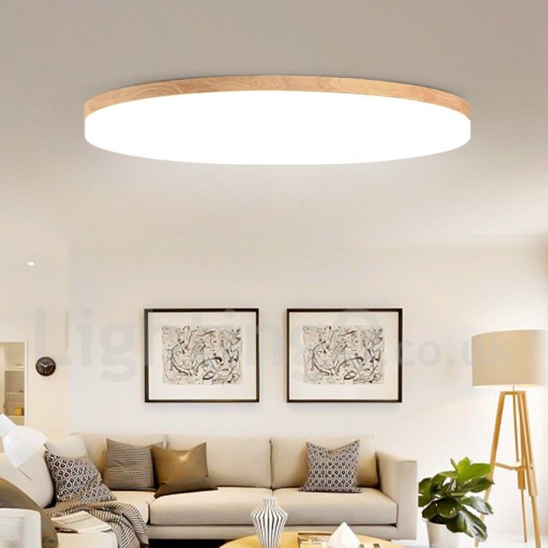 Nordic Round Bedroom Ceiling Lamp Simple Modern Solid Wood Living .