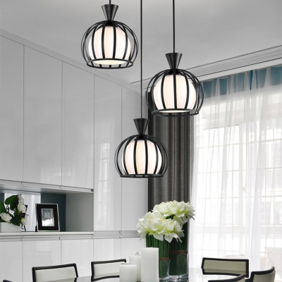 Metal Melon Cage Pendant Lamp Living Room 3 Lights Industrial .