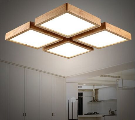 Modern brief Wooden led ceiling light square minimalism ceiling .