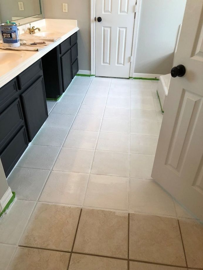 Paint Your Outdated Tile Floors | Painted kitchen floors, Tile .
