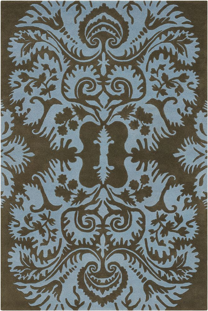 Chandra Rugs Amy Butler Blue Brown Rug AMY13217, Rugsville.c