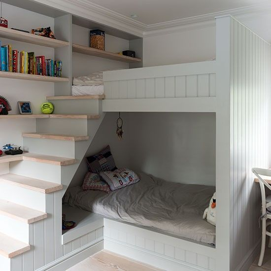 Children's room with built-in bunk beds | Childrens room decor .